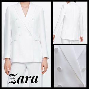 Zara ecru/white double breasted blazer size medium